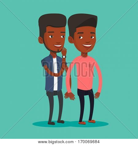 An african-american woman shielding her mouth and whispering a gossip to her friend. Two happy women sharing gossips. Smiling friends discussing gossips. Vector flat design illustration. Square layout