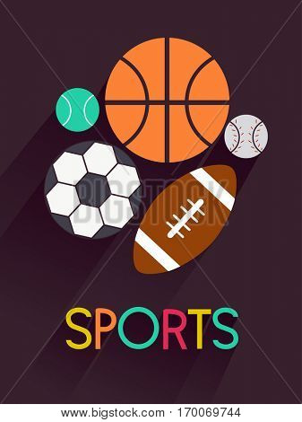 Typography Illustration Featuring the Word Sports Surrounded by Different Types of Balls