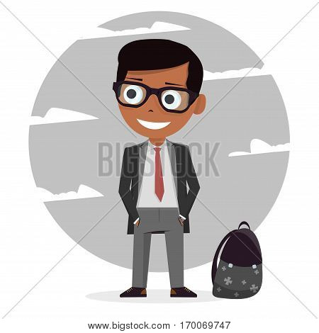 Modern stylish schoolboy. School uniforms for boys. Isolated character. Cartoon student personage. Vector illustration on white background.