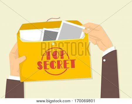 Cropped Illustration of a Man Opening an Envelope That Contains Top Secret Files