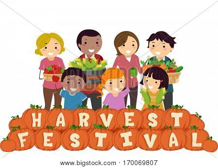 Stickman Illustration of a Family Carrying Baskets Filled with Fruits and Vegetables Standing Behind a Row of Pumpkins That Spell Out Harvest Festival