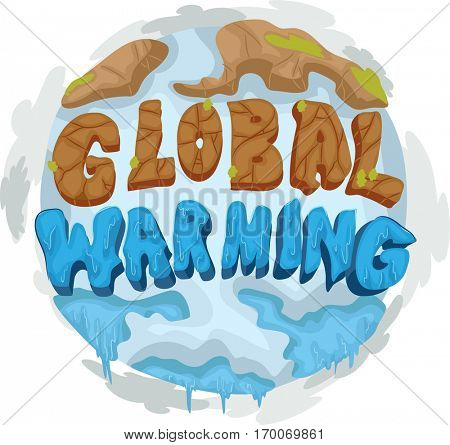 Global Warming Themed Illustration Featuring a Globe with Extreme Weather Conditions at Both Ends