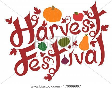 Typography Illustration Featuring the Phrase Harvest Festival Decorated with Pumpkins and Other Fresh Produce
