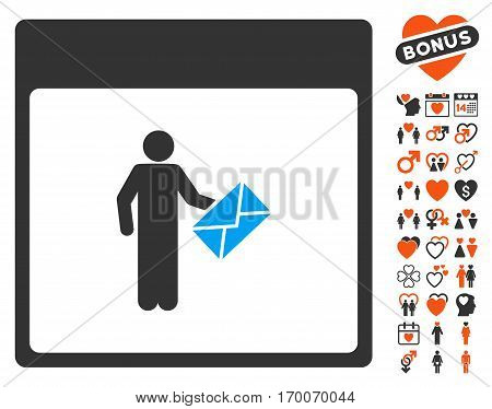 Postman Calendar Page pictograph with bonus amour clip art. Vector illustration style is flat iconic symbols for web design app user interfaces.