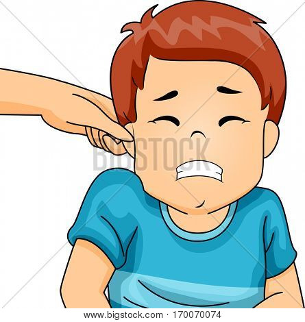Illustration of a Little Boy Wincing in Pain as His Parent Pinches His Ear