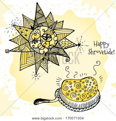 Happy Shrovetide Hand Drawn Vector Illustration with Stylized Sun and Pancakes