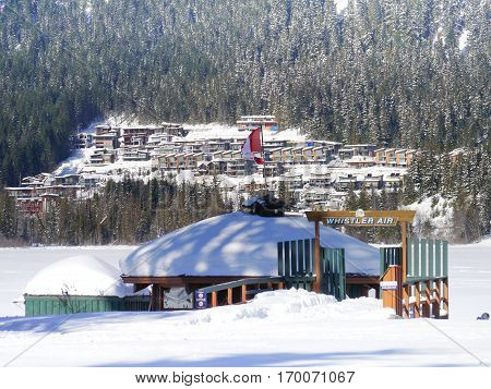 WHISTLER, BC, CANADA - February 7, 2017 Whistler Air Seaplane terminal. Whistler, BC, Canada. February 7, 2017