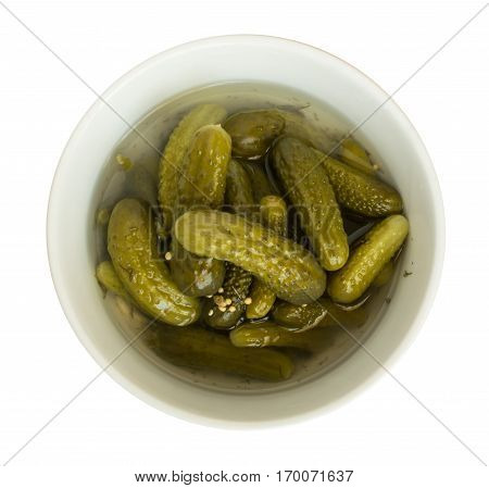 Homemade Pickled Gherkins Or Cucumbers In White Round Bowl
