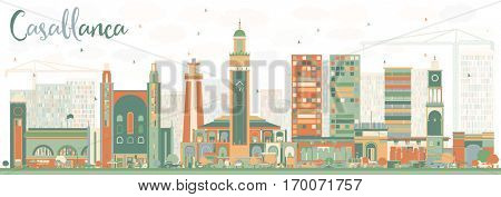 Abstract Casablanca Skyline with Color Buildings. Vector Illustration. Business Travel and Tourism Concept with Historic Architecture. Image for Presentation Banner Placard and Web Site.