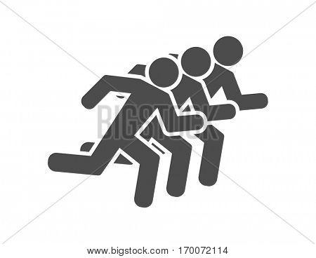 running men group teamwork icon