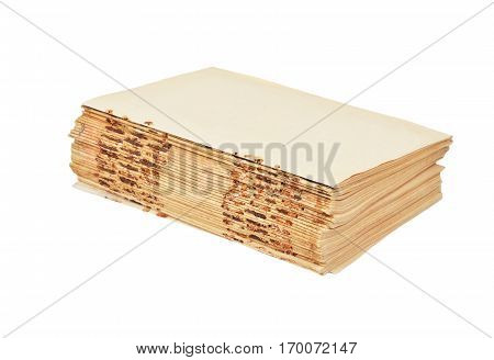 Antique book without cover isolated on white background