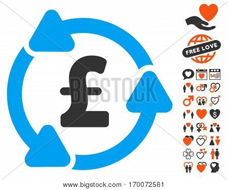 Pound Circulation pictograph with bonus love pictograms. Vector illustration style is flat iconic symbols for web design app user interfaces.