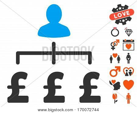 Pound Collector icon with bonus valentine pictograph collection. Vector illustration style is flat iconic elements for web design app user interfaces.