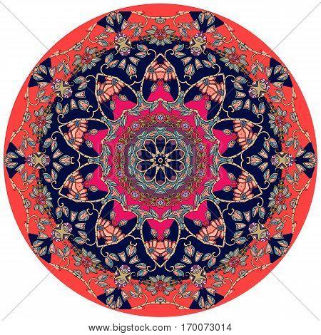Circle ethnic rug with flower - mandala. Vector illustration