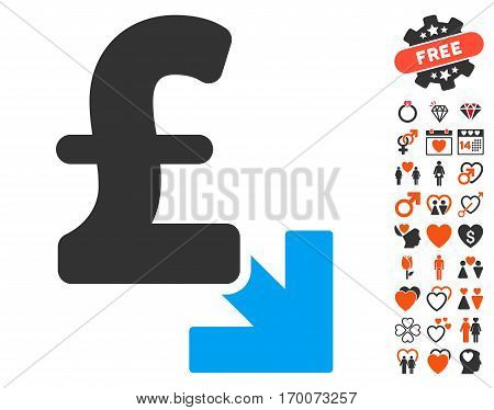Pound Decrease pictograph with bonus valentine graphic icons. Vector illustration style is flat iconic elements for web design app user interfaces.