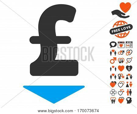 Pound Down pictograph with bonus amour pictures. Vector illustration style is flat iconic symbols for web design app user interfaces.