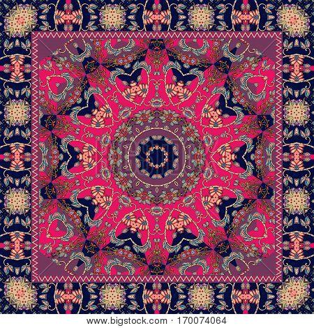 Indian tablecloth with flower - mandala. Rug scarf pillowcase. Shawl.