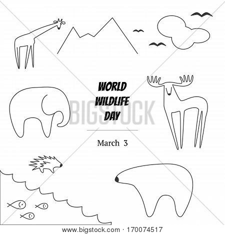 Black and White Vector Illustration of World Wildlife Day with Animals. Elephant, Deer, Polar Bear, Porcupine, Giraffe, Fish, Birds