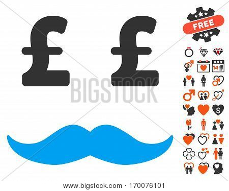 Pound Millionaire Mustache icon with bonus decorative clip art. Vector illustration style is flat iconic symbols for web design app user interfaces.