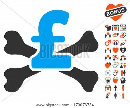 Pound Mortal Debt pictograph with bonus lovely images. Vector illustration style is flat iconic elements for web design app user interfaces.