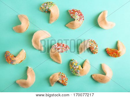 Fortune cookies  on color background