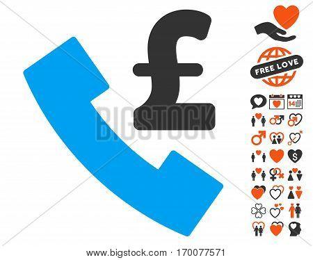 Pound Payphone pictograph with bonus decorative symbols. Vector illustration style is flat iconic symbols for web design app user interfaces.