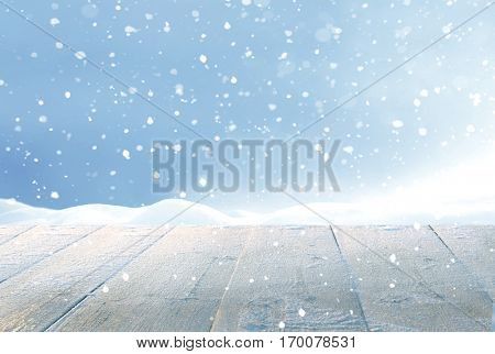 Merry Christmas and happy New Year greeting background with table .Winter landscape with snow