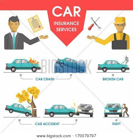 Car insurance services help poster. Worker with tools and manager with document on damaged car. Vector collection of insuring cases when vehicle crashed by fire and in water, broken, car accident and theft