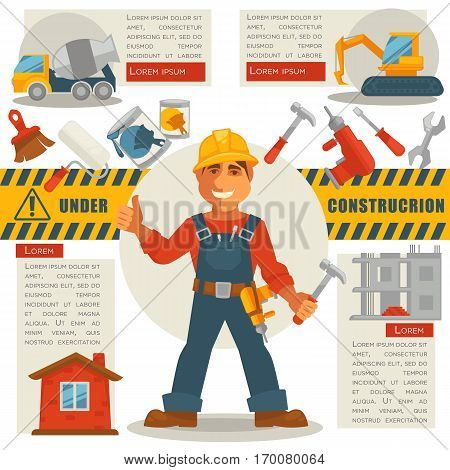 Builder in uniform with hammer in hand and under construction sign. Vector web illustration of building working process with signs of concrete mixer, yellow escalator, finished and unfinished houses