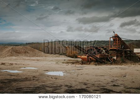 Rock crusher machine. Equipment of gravel plant