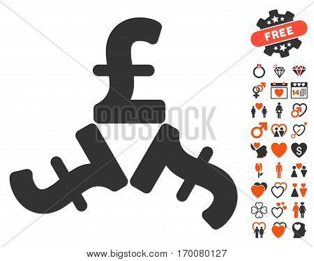 Pound Trinity icon with bonus dating symbols. Vector illustration style is flat iconic elements for web design app user interfaces.