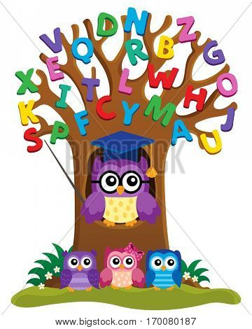 Tree with stylized school owl theme 3 - eps10 vector illustration.