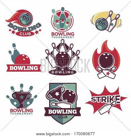 Bowling club and tournament logotypes vector collection with white background. Rolling bowling balls that strike row of skittles and winning cup colourful design emblems. Bowling entertainment logotypes