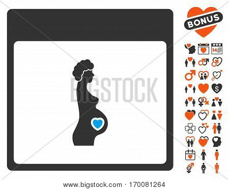 Pregnant Woman Calendar Page pictograph with bonus marriage symbols. Vector illustration style is flat iconic elements for web design, app user interfaces.