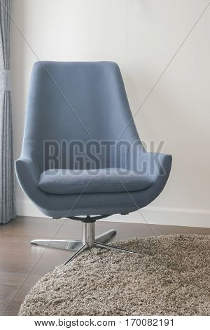 Indigo Modern Style Armchair On Area Rug In Living Room