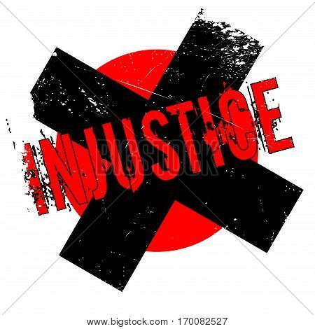 Injustice rubber stamp. Grunge design with dust scratches. Effects can be easily removed for a clean, crisp look. Color is easily changed.