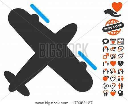 Propeller Aircraft pictograph with bonus dating design elements. Vector illustration style is flat iconic elements for web design, app user interfaces.