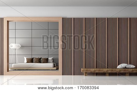Modern Bedroom interior 3d rendering image View from front of room.There are walls with Wood lattice and empty wall paint with grey colour. There is wood bench in front of room