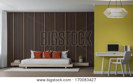 Modern Bedroom interior 3d rendering image There are walls with Wood lattice and empty wall paint with yellow colour. There are working corner with white desk and chair.