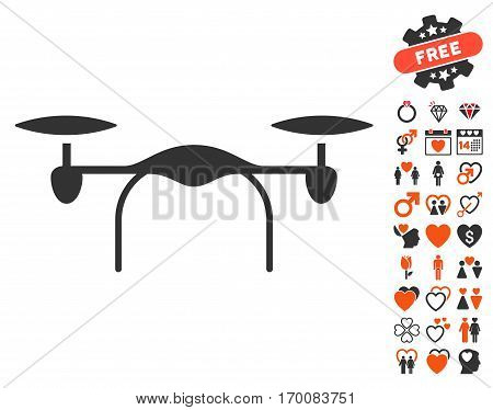 Quadcopter icon with bonus valentine graphic icons. Vector illustration style is flat iconic symbols for web design, app user interfaces.