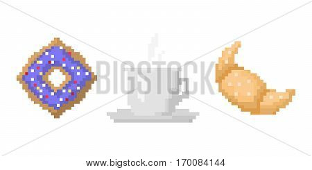 Pixel art fast drink cup and croissant. Fast food computer design symbol retro game web graphic. Vector illustration restaurant pixelated element.