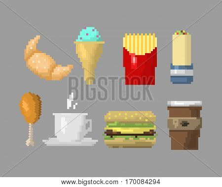 Pixel icons breakfast unhealthy sign. Fast food computer design symbol retro game web graphic. Vector illustration restaurant pixelated element.