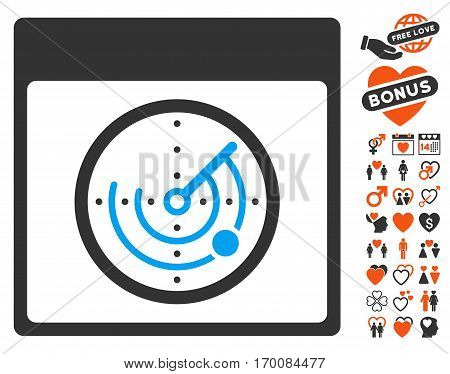 Radar Calendar Page icon with bonus passion pictures. Vector illustration style is flat iconic symbols for web design, app user interfaces.