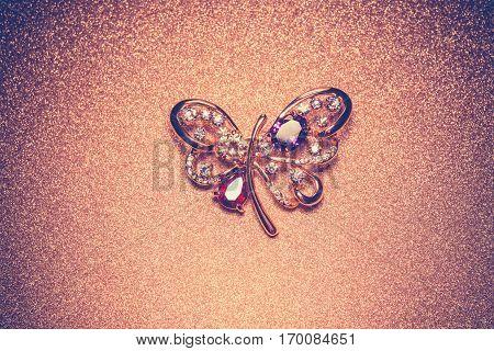 Golden Butterfly Shaped Brooch