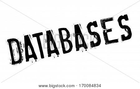 Databases rubber stamp. Grunge design with dust scratches. Effects can be easily removed for a clean, crisp look. Color is easily changed.