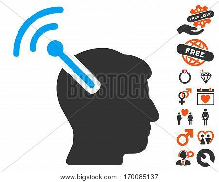 Radio Neural Interface icon with bonus passion symbols. Vector illustration style is flat iconic elements for web design, app user interfaces.