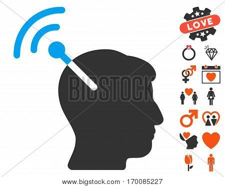 Radio Neural Interface pictograph with bonus love graphic icons. Vector illustration style is flat iconic symbols for web design, app user interfaces.