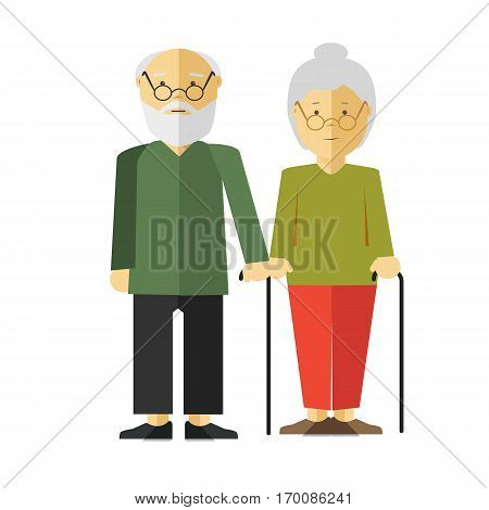 Elderly standing couple with holding sticks on white. Old man and woman with grey hair and glasses wearing green sweaters, black and red trousers and shoes. Vector illustration of pensioners