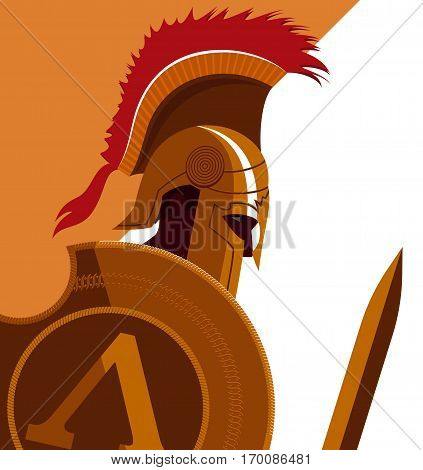 Greek Spartan Warrior or Trojan Soldier holding shield and sword - Vector Illustration