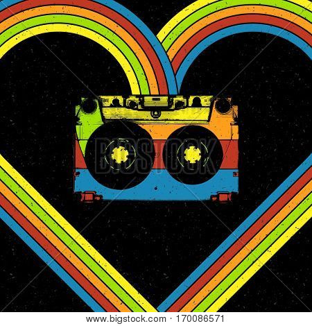 Disco music concept illustration. Audiocassette in heart shaped rainbow lines. Oldie style poster